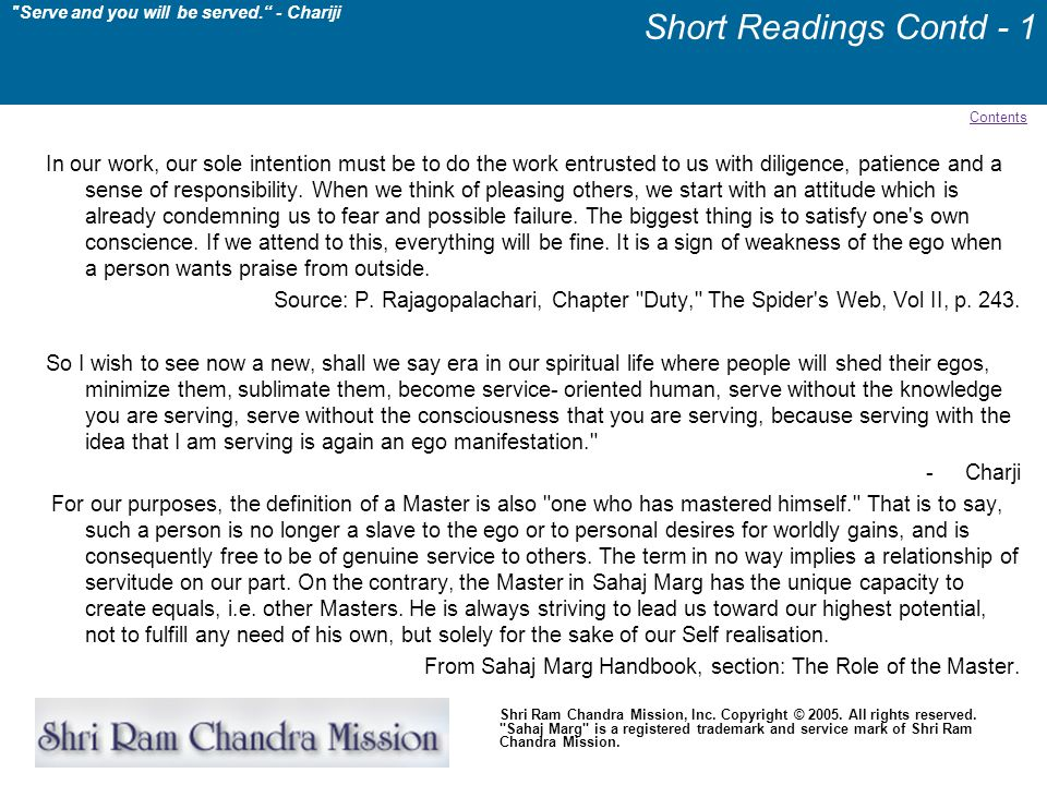 Short Readings Contd - 1 Contents.