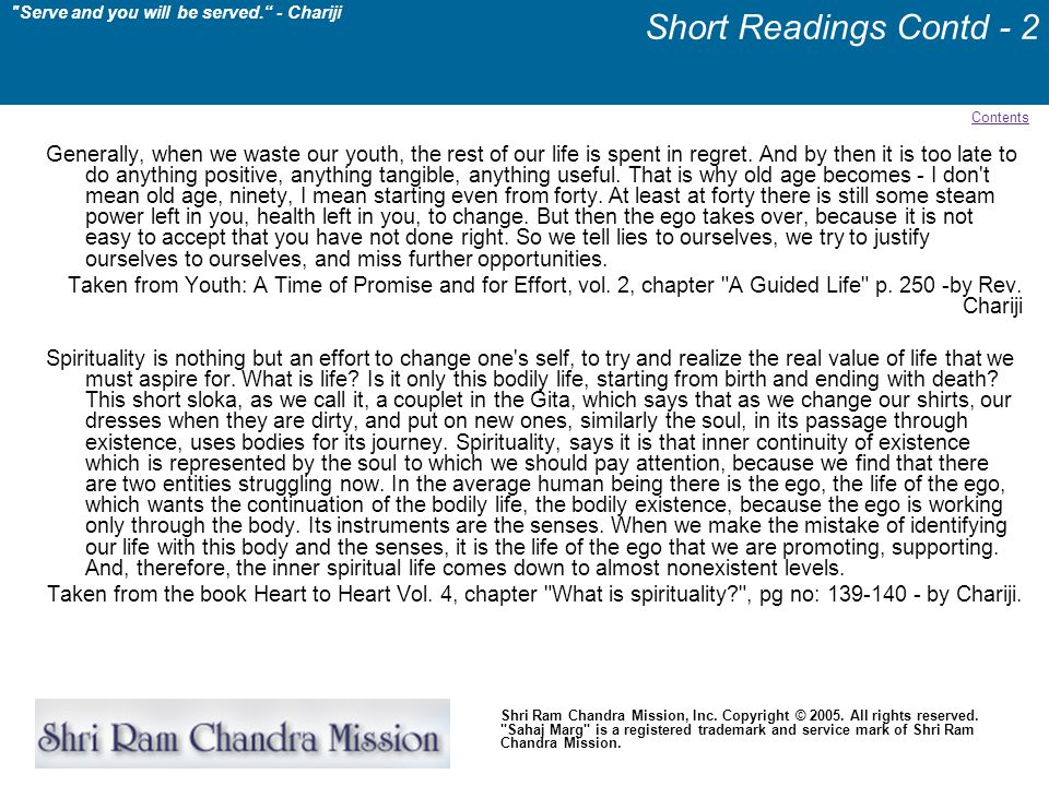 Short Readings Contd - 2 Contents.