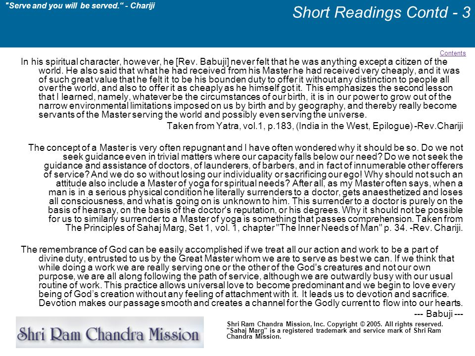 Short Readings Contd - 3 Contents.