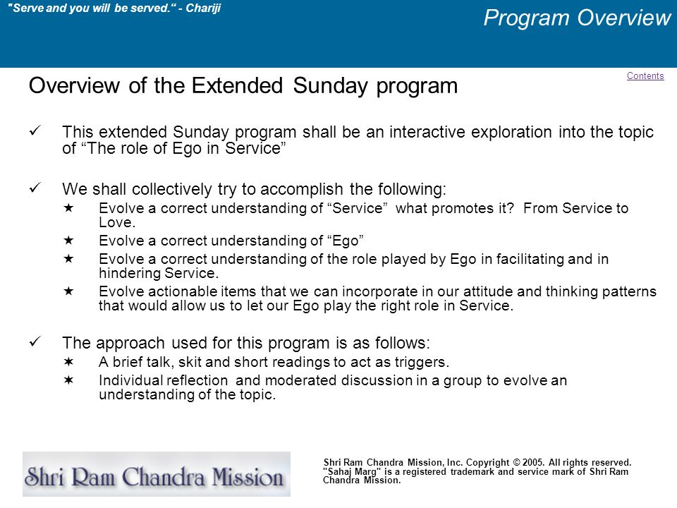 Overview of the Extended Sunday program