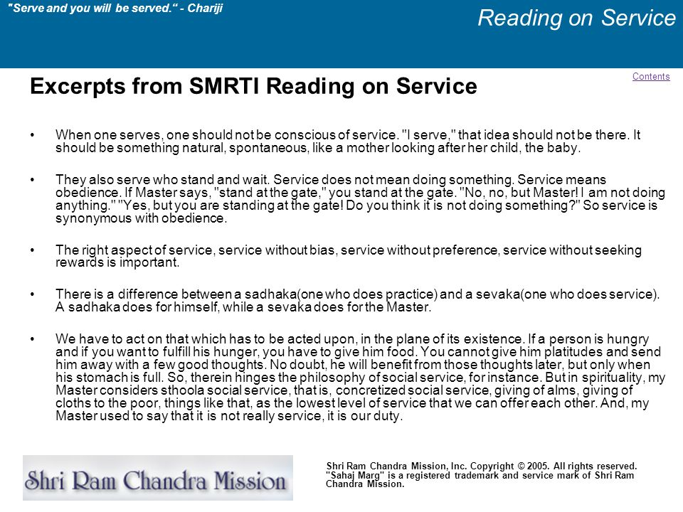 Excerpts from SMRTI Reading on Service