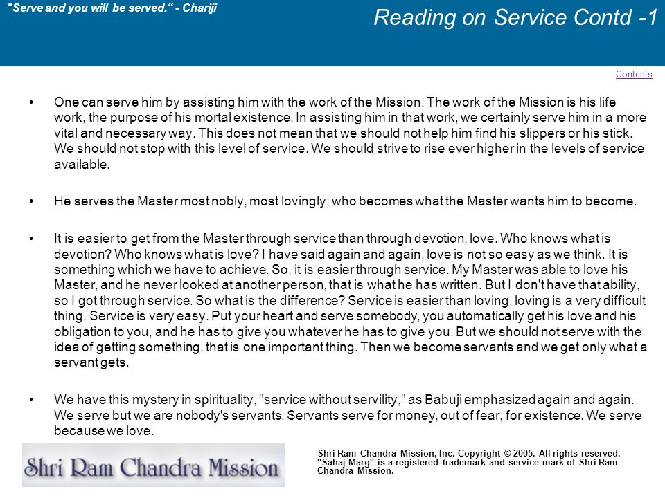 Reading on Service Contd -1