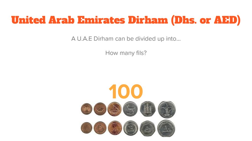 United Arab Emirates Dirham (Dhs. or AED)