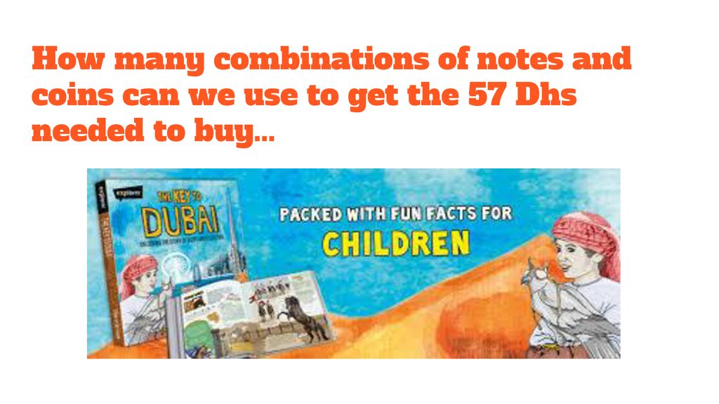 How many combinations of notes and coins can we use to get the 57 Dhs needed to buy...