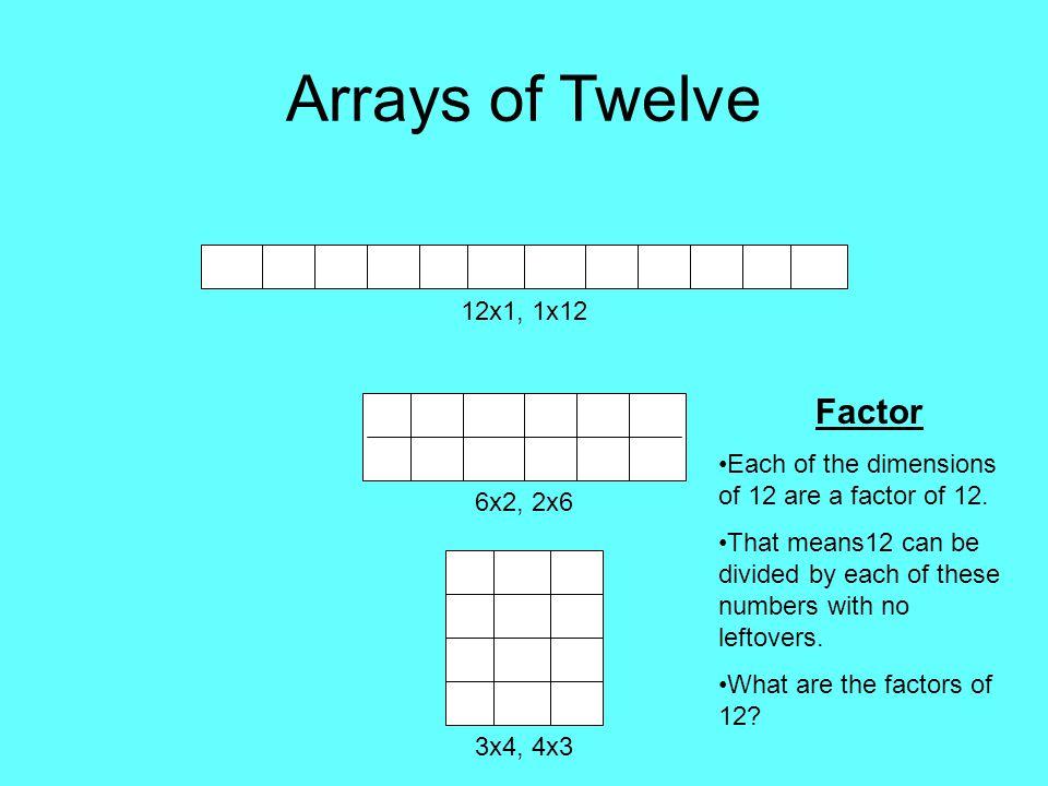Arrays of Twelve Factor 12x1, 1x12