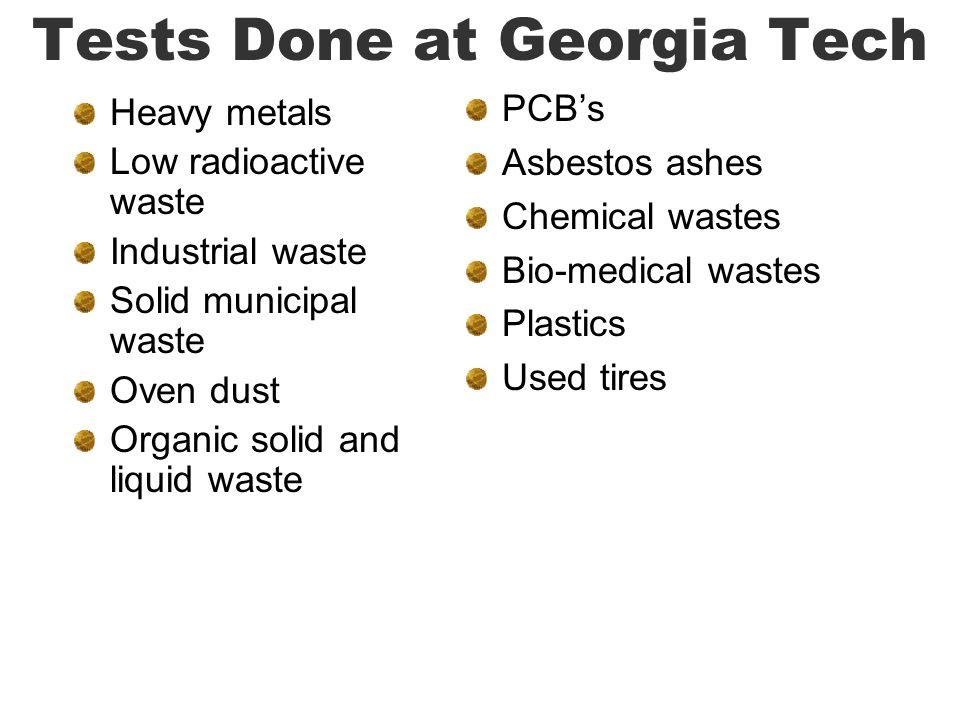 Tests Done at Georgia Tech