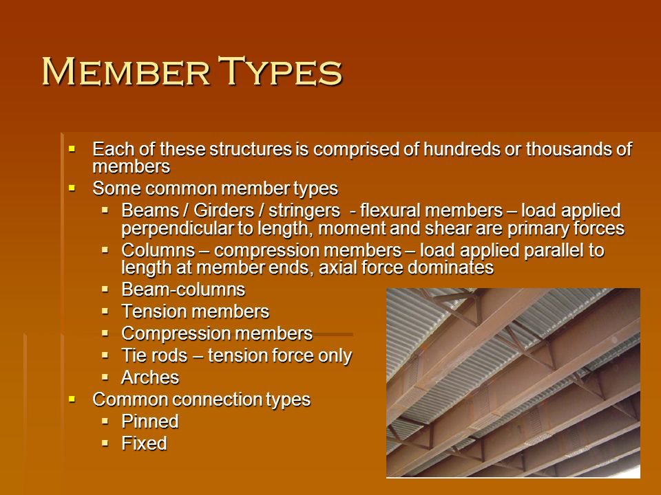 Member Types Each of these structures is comprised of hundreds or thousands of members. Some common member types.