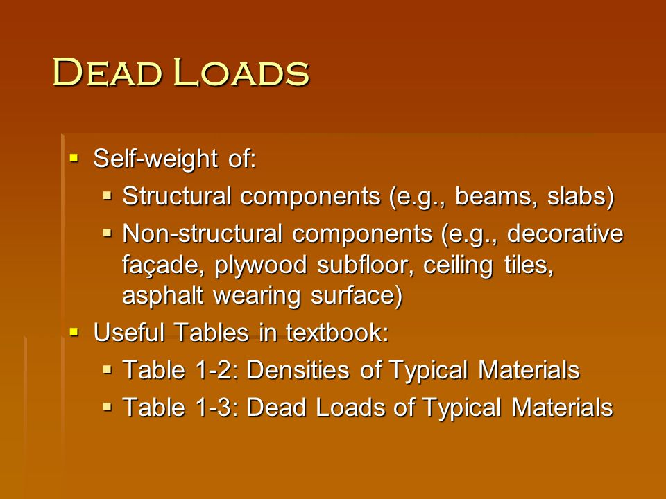 Dead Loads Self-weight of: Structural components (e.g., beams, slabs)