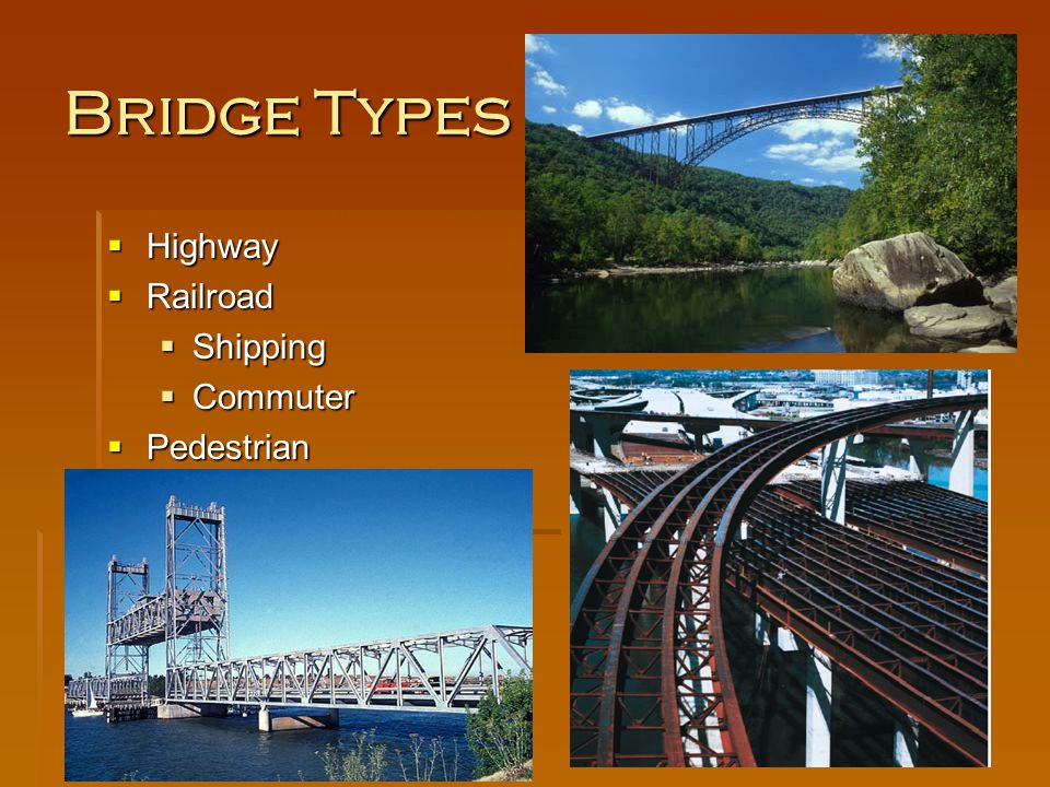 Bridge Types Highway Railroad Shipping Commuter Pedestrian