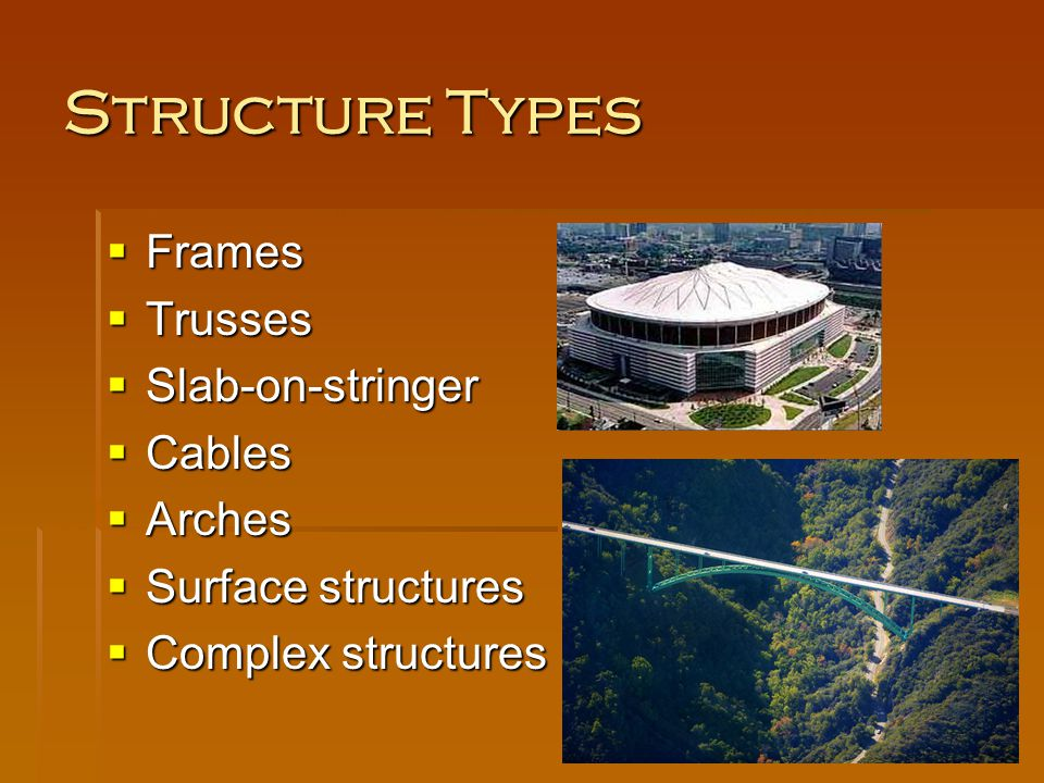 Structure Types Frames Trusses Slab-on-stringer Cables Arches