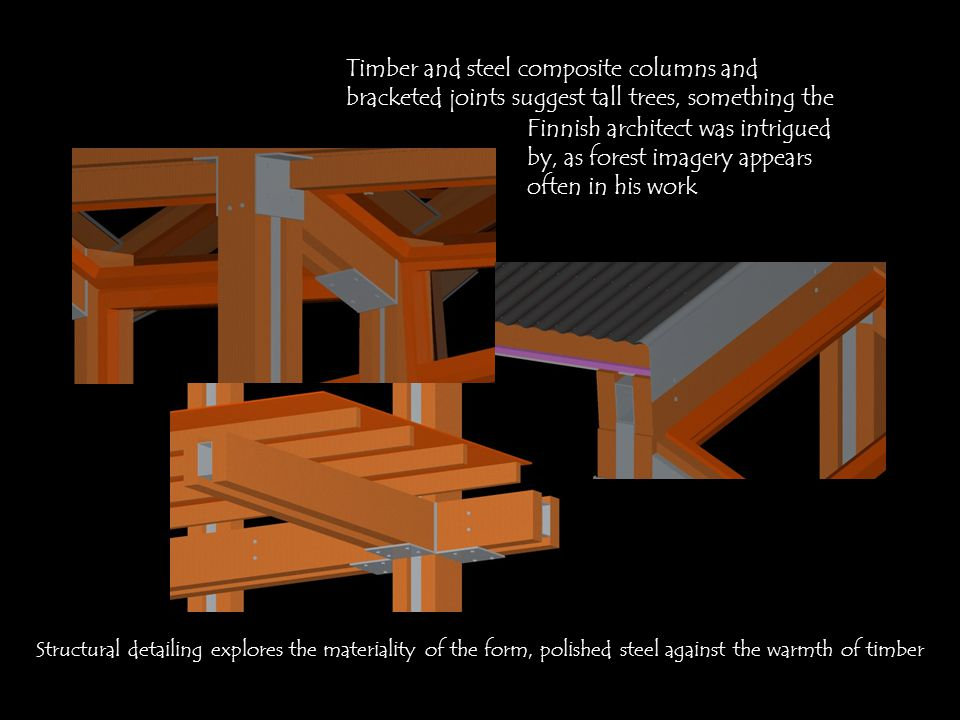 Timber and steel composite columns and bracketed joints suggest tall trees, something the