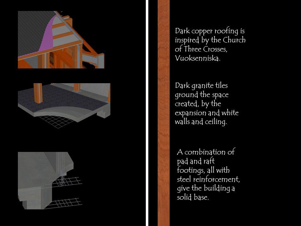 Dark copper roofing is inspired by the Church of Three Crosses, Vuoksenniska.