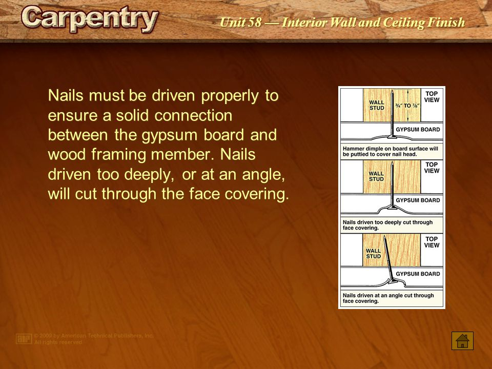 Nails must be driven properly to ensure a solid connection between the gypsum board and wood framing member. Nails driven too deeply, or at an angle, will cut through the face covering.