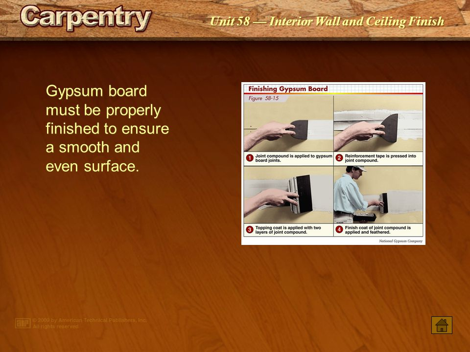 Gypsum board must be properly finished to ensure a smooth and even surface.