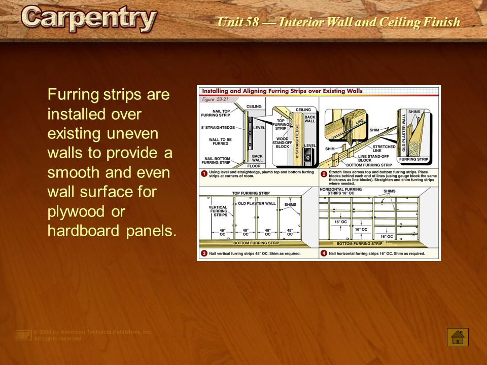 Furring strips are installed over existing uneven walls to provide a smooth and even wall surface for plywood or hardboard panels.