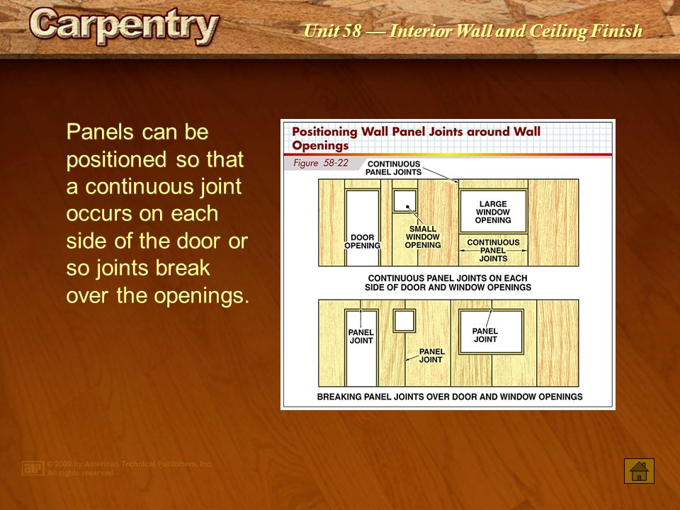Panels can be positioned so that a continuous joint occurs on each side of the door or so joints break over the openings.