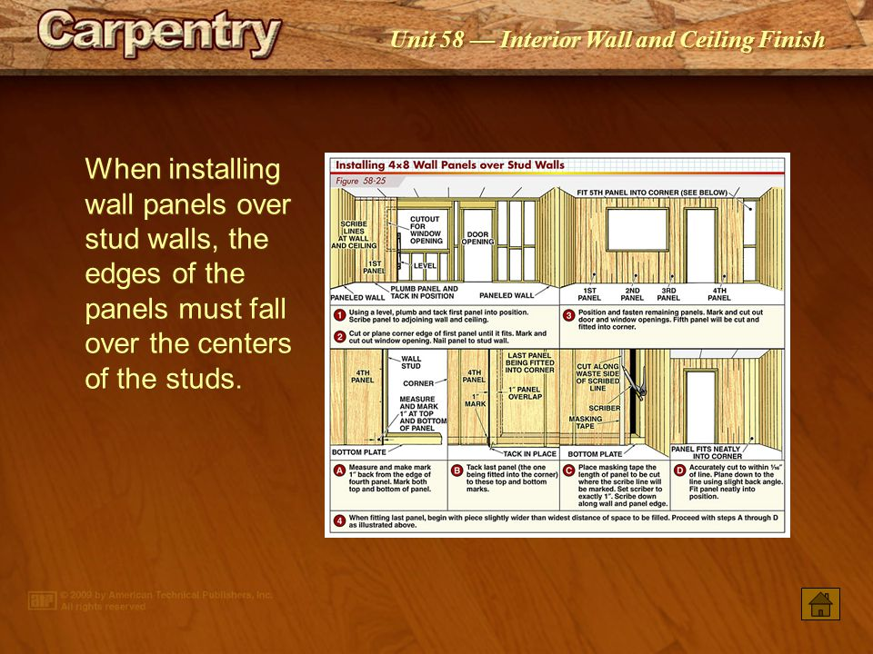 When installing wall panels over stud walls, the edges of the panels must fall over the centers of the studs.