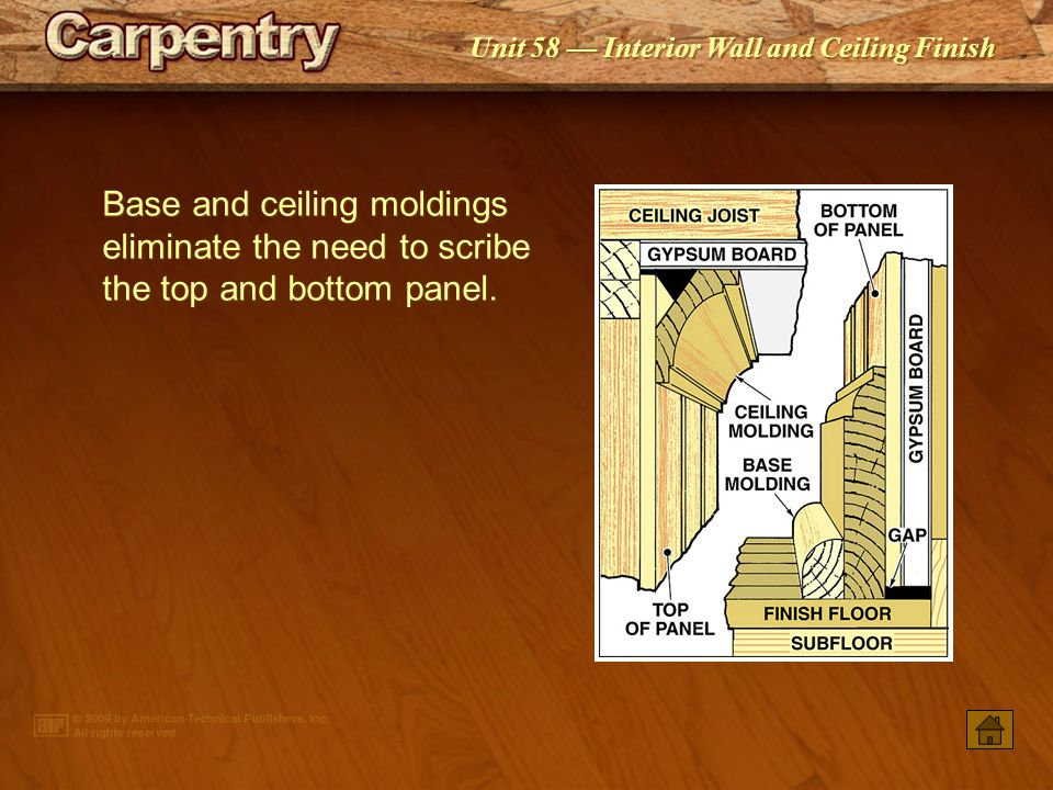 Base and ceiling moldings eliminate the need to scribe the top and bottom panel.