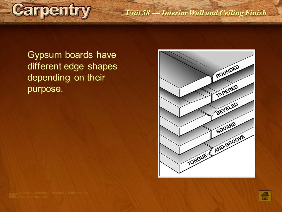 Gypsum boards have different edge shapes depending on their purpose.