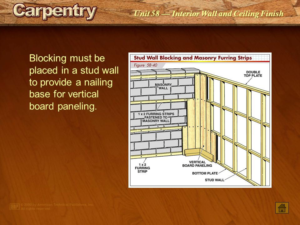 Blocking must be placed in a stud wall to provide a nailing base for vertical board paneling.