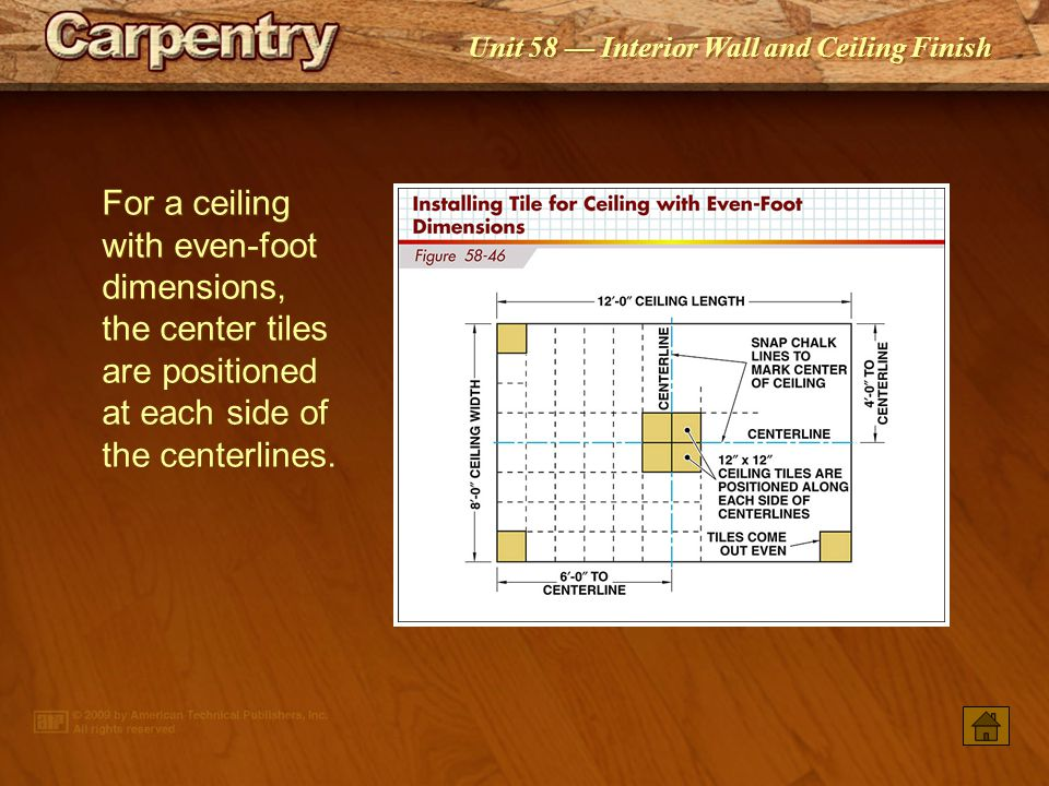 For a ceiling with even-foot dimensions, the center tiles are positioned at each side of the centerlines.