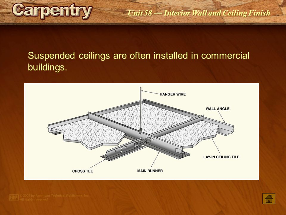 Suspended ceilings are often installed in commercial buildings.