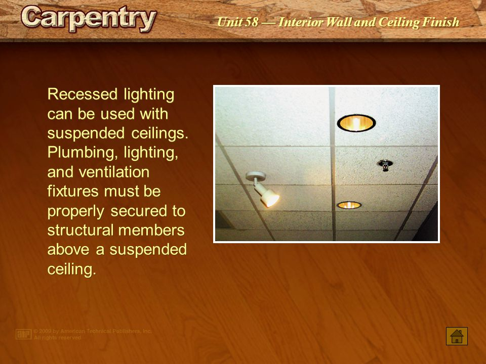Recessed lighting can be used with suspended ceilings