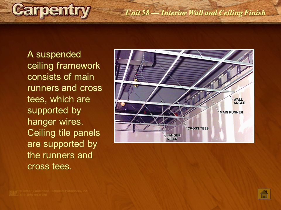 A suspended ceiling framework consists of main runners and cross tees, which are supported by hanger wires. Ceiling tile panels are supported by the runners and cross tees.