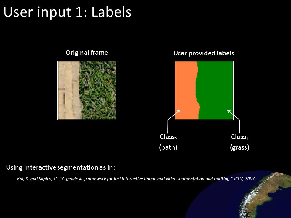 User input 1: Labels Original frame User provided labels Class2 (path)