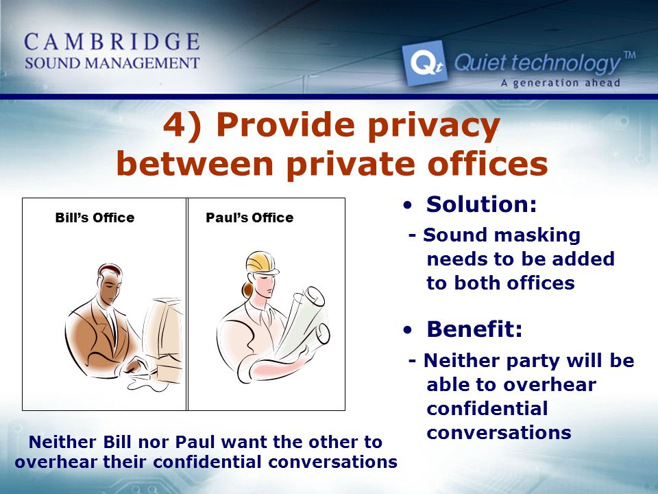 4) Provide privacy between private offices