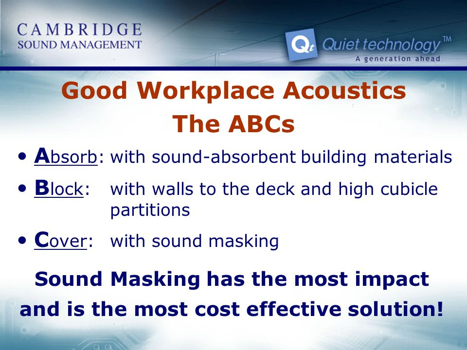 Good Workplace Acoustics The ABCs