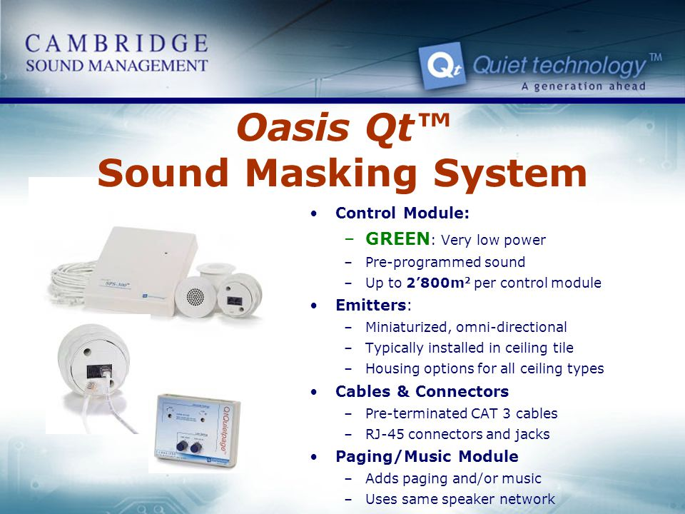 Oasis Qt™ Sound Masking System