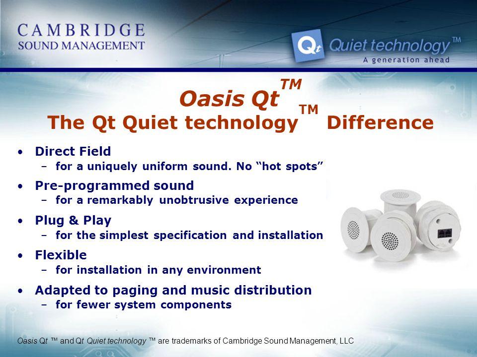 Oasis QtTM The Qt Quiet technologyTM Difference
