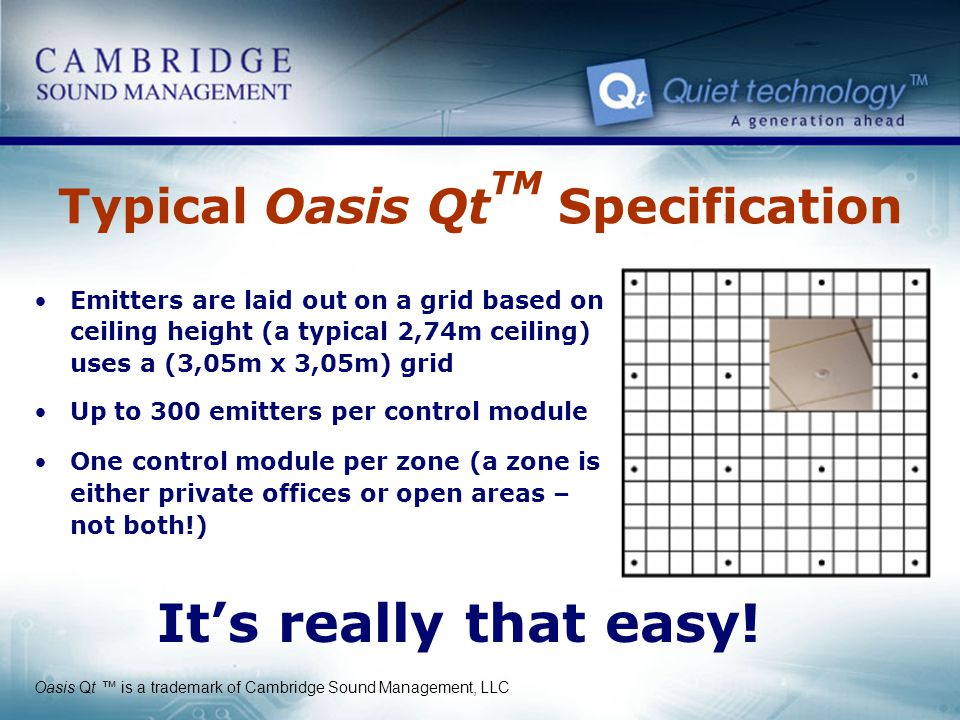 Typical Oasis QtTM Specification