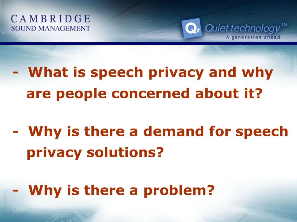 - What is speech privacy and why are people concerned about it