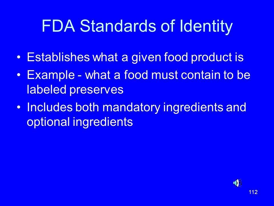 FDA Standards of Identity