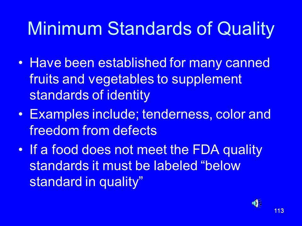 Minimum Standards of Quality