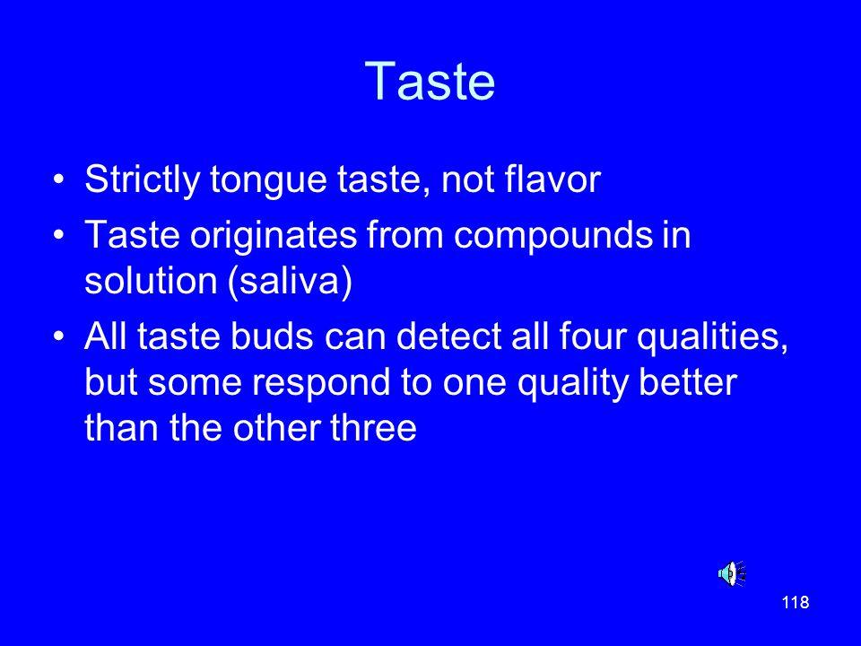 Taste Strictly tongue taste, not flavor
