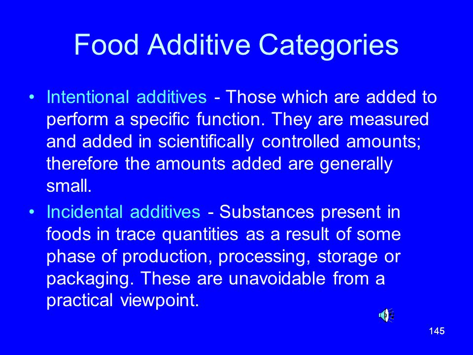 Food Additive Categories