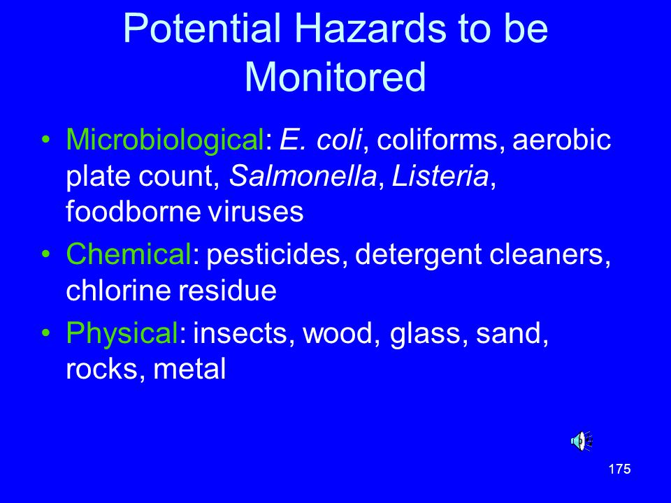 Potential Hazards to be Monitored