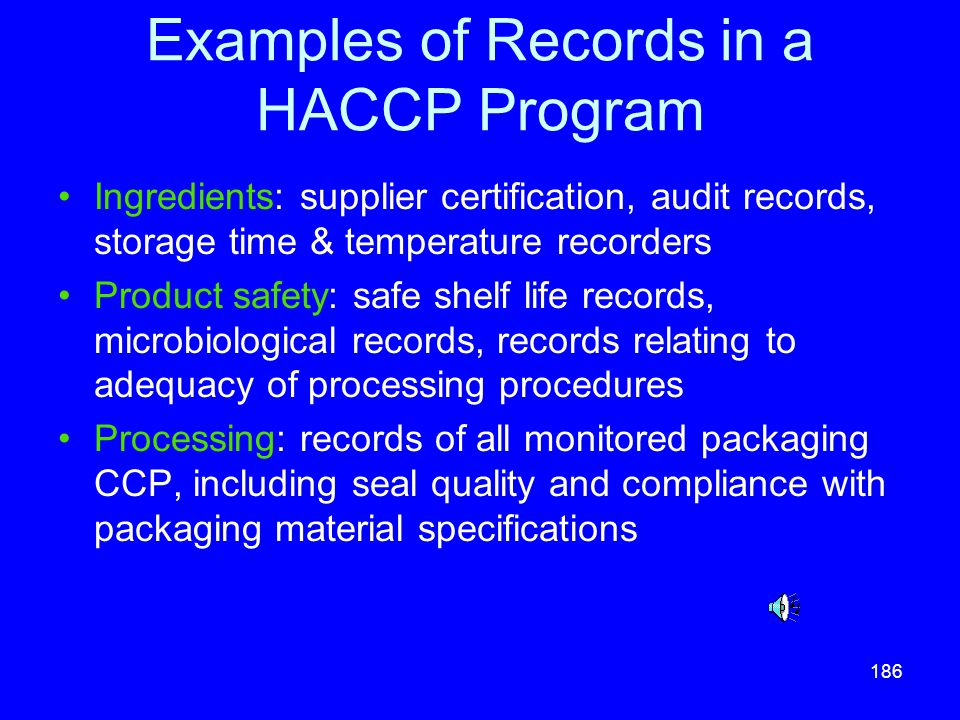 Examples of Records in a HACCP Program