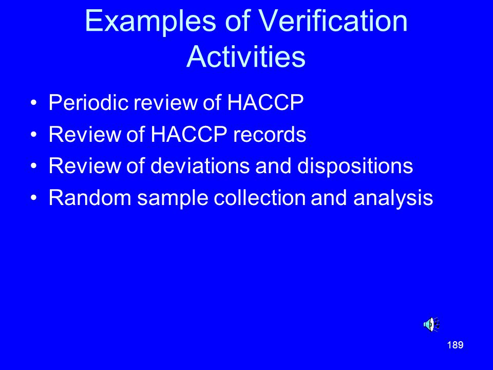 Examples of Verification Activities