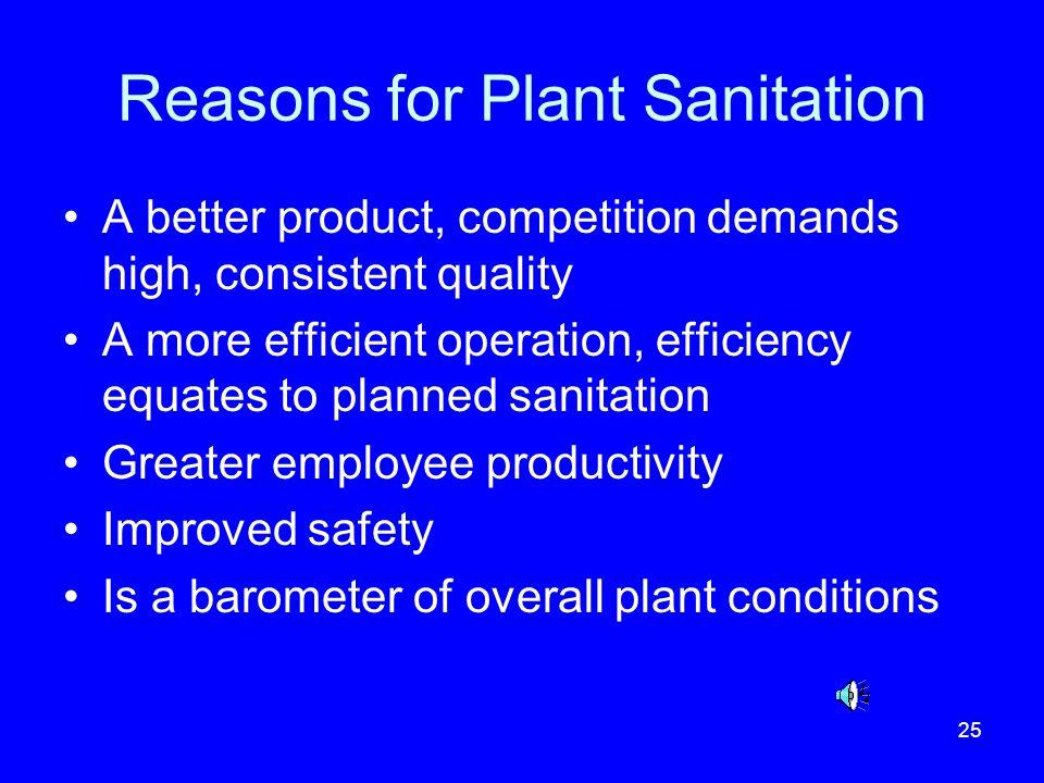 Reasons for Plant Sanitation