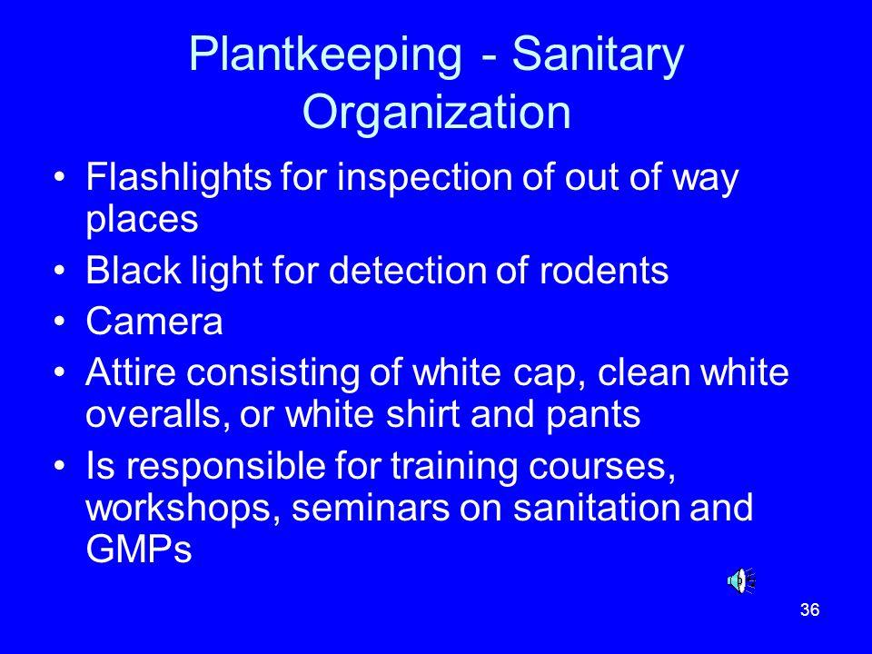 Plantkeeping - Sanitary Organization