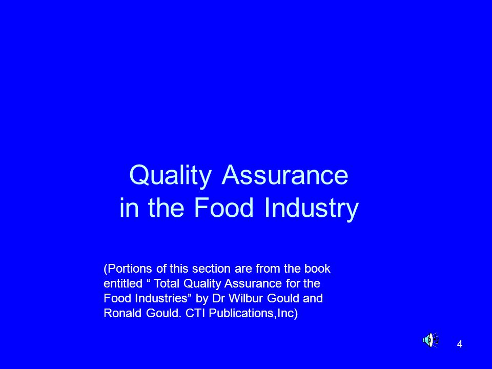 Quality Assurance in the Food Industry