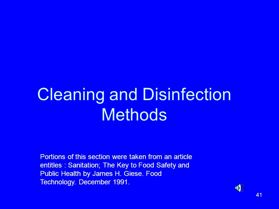 Cleaning and Disinfection Methods