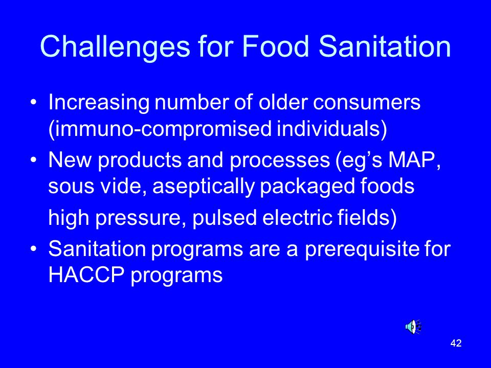 Challenges for Food Sanitation