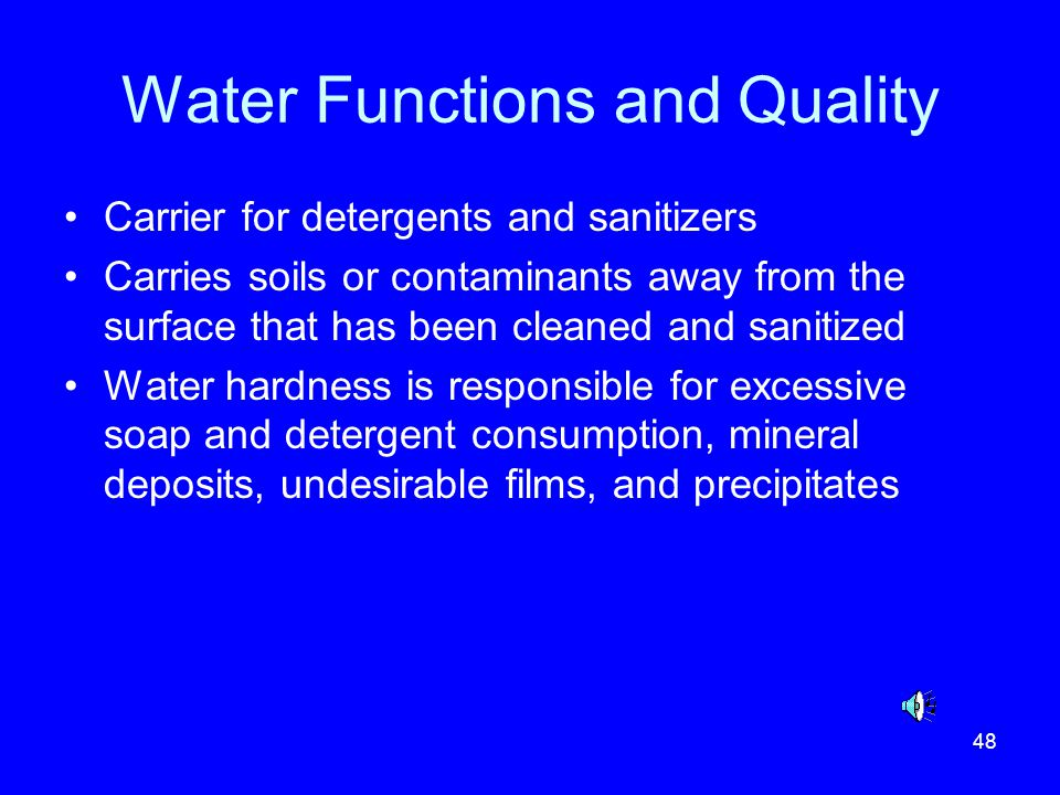 Water Functions and Quality