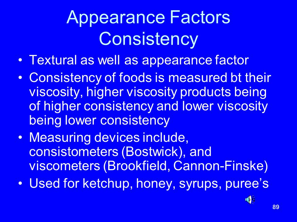 Appearance Factors Consistency