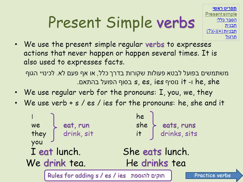Present Simple verbs I eat lunch. We drink tea. She eats lunch.